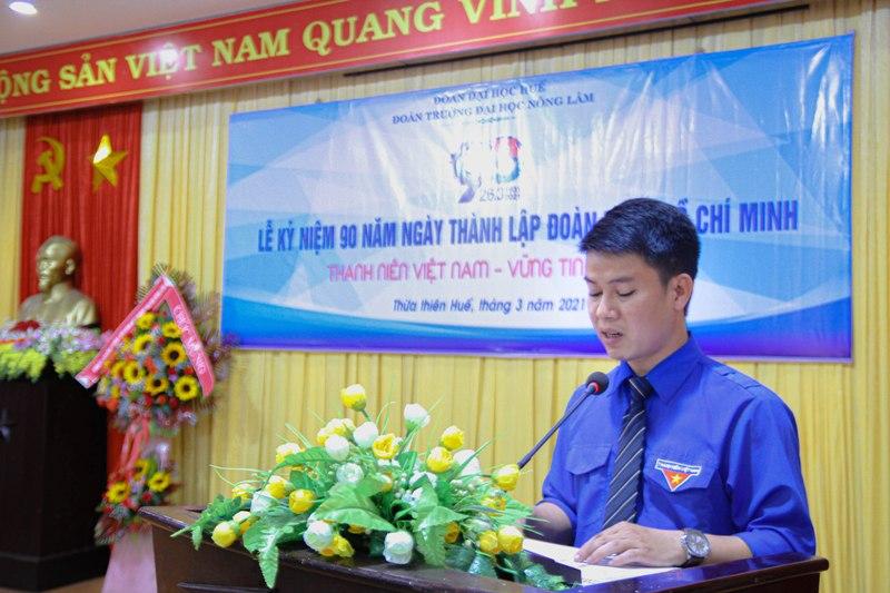 Đ/c Lê Chí Hùng Cường - Chủ tịch HSV ĐHH, Bí thư ĐTN trường ĐHNL phát biểu tại buổi lễ
